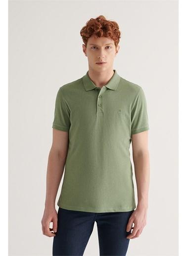 Avva Erkek  Polo Yaka Düz Tişört E001004.132 Yeşil